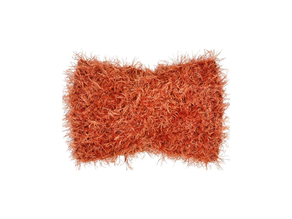 Cihlově oranžová chlupatá čelenka uzel
