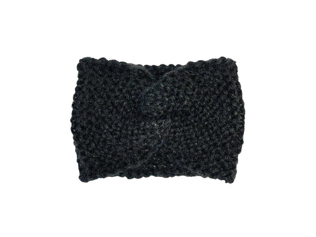 Černá pletená čelenka uzel
