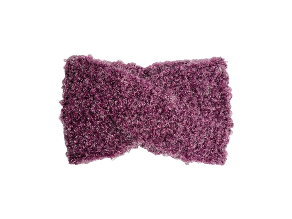 Chlupatá fialová překládaná čelenka