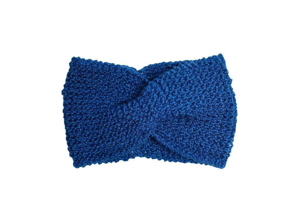 Modrá pletená čelenka uzel