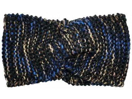 Černá čelenka s barevnou nitkou uzel