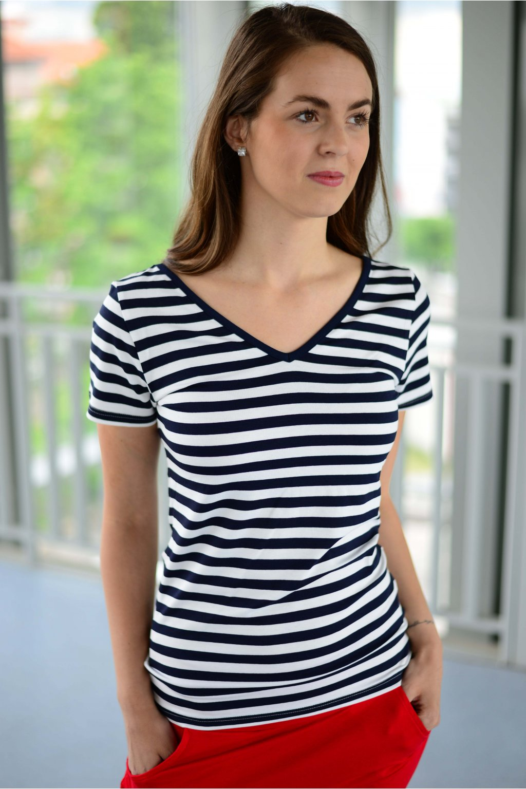 Tričko Dara Navy Stripe