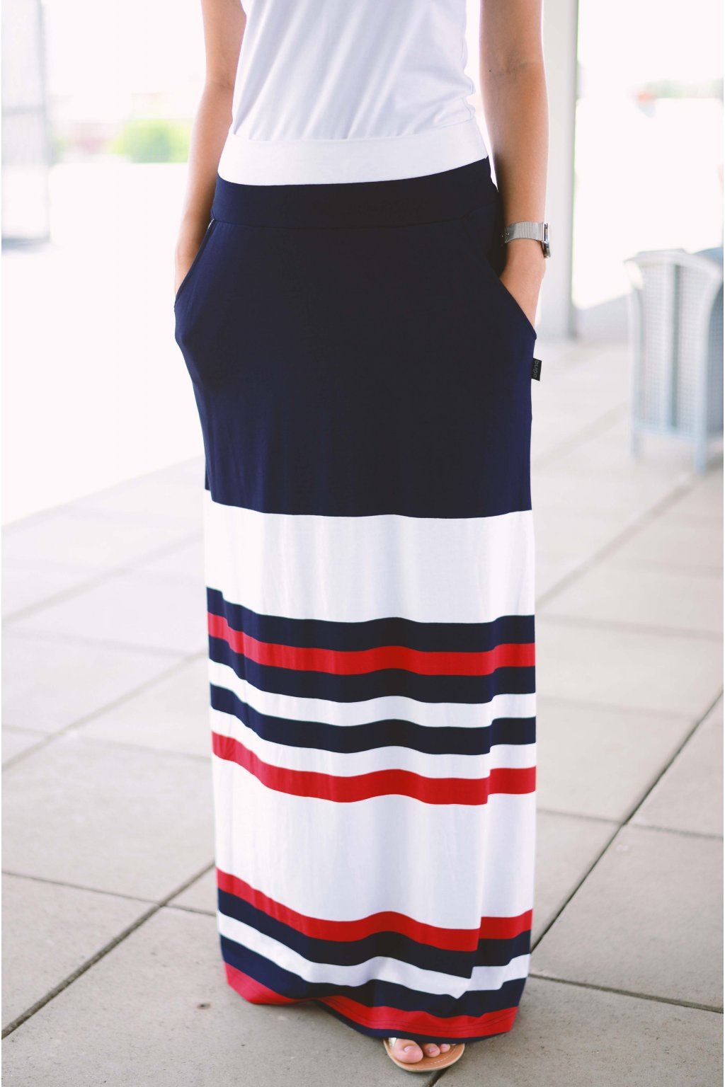 Sukně Maxi Poppey Navy/Red