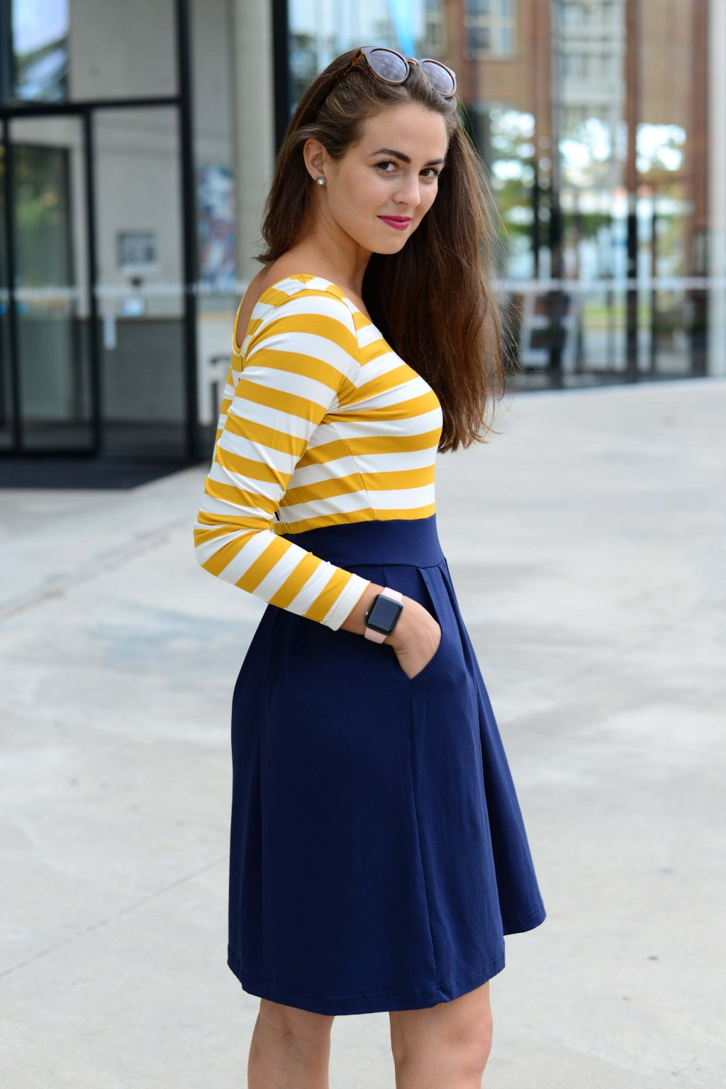 Šaty Sailor Mustard Stripe