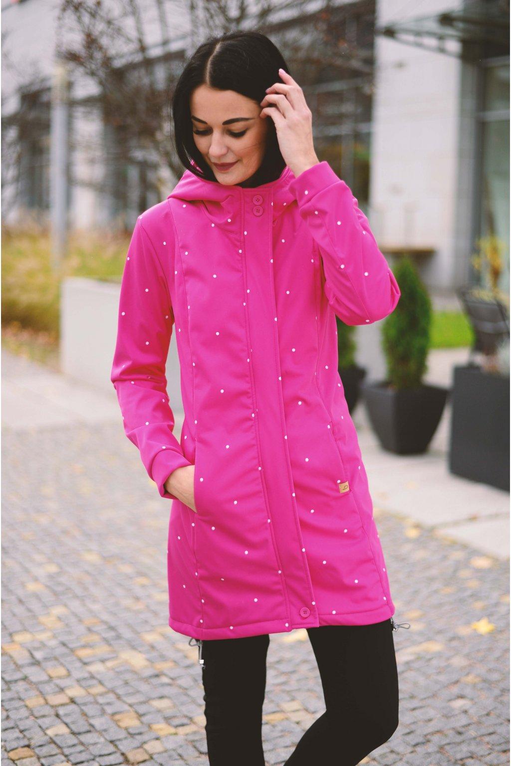 Softshell bunda Grace Pink Dott