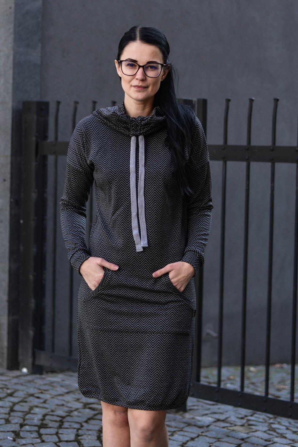 Šaty Thalia Black Chevron