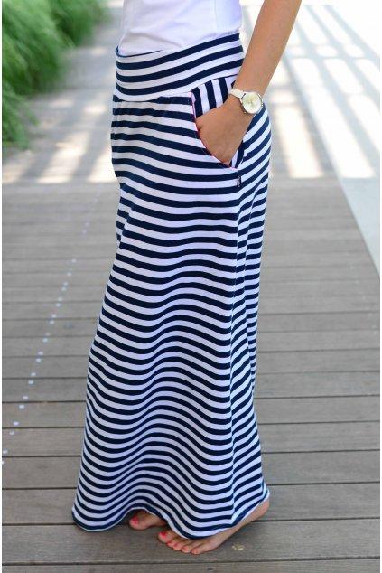 Sukně Maxi Poppey Navy Stripe