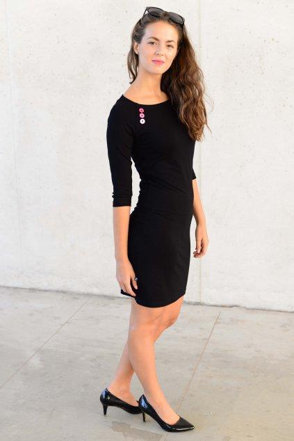 Šaty Raglan Black / Pink Knob