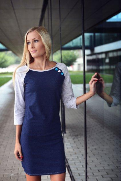 Šaty Raglan Blue/Lgrey