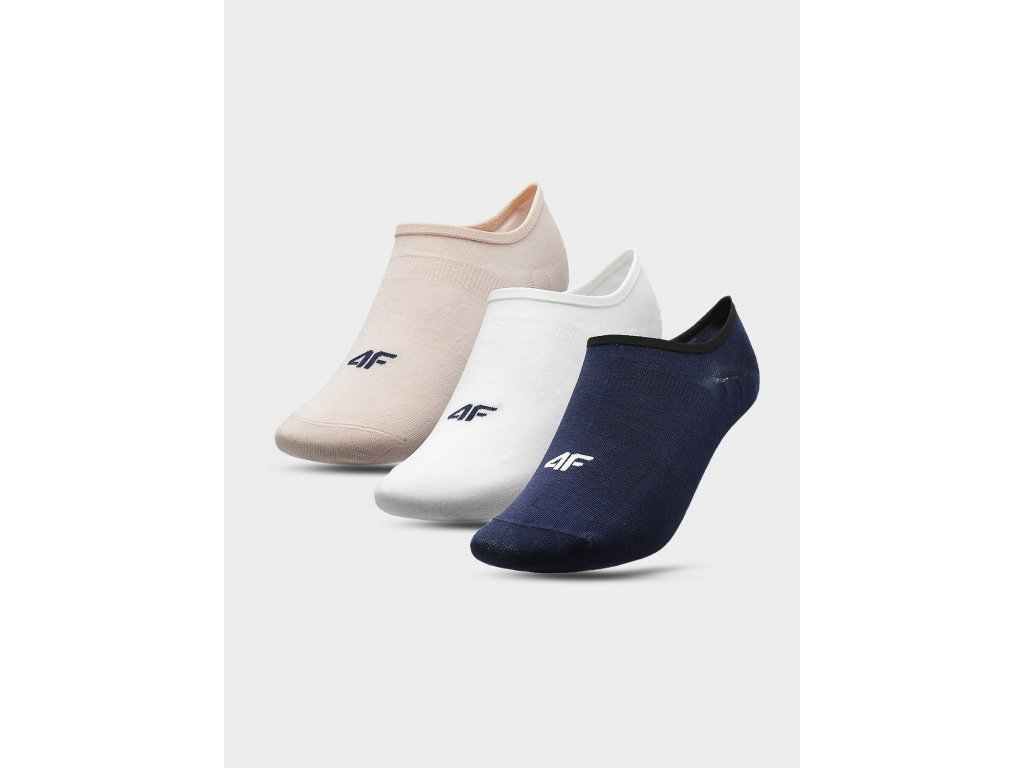 100526 damske nizke ponozky 4f sod301ruzove bile modre 3pary