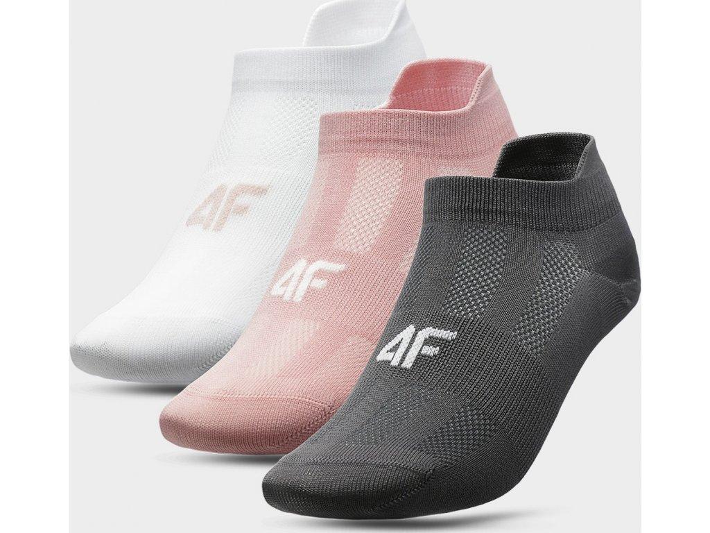 Dámské ponožky 4F SOD213 Bílé_růžové_šedé (3páry)