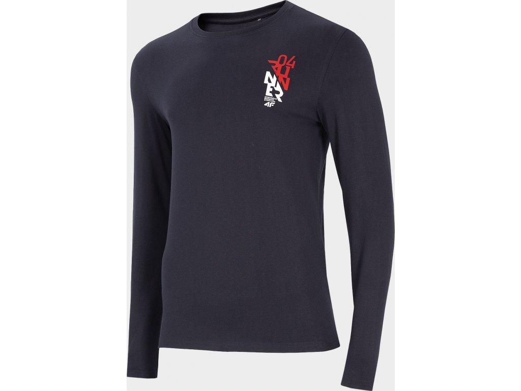 Pánské tričko s dlouhými rukávem 4F TSML206 Tmavě modré