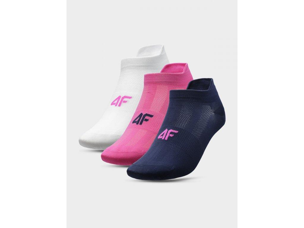 Dámské sportovní ponožky 4F SOD213 Bílé Růžové Modré (3 páry)