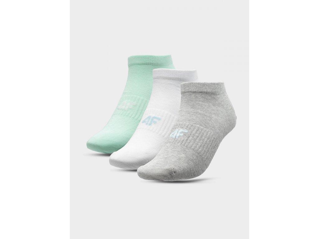 Dámské ponožky 4F SOD302 Tyrkysové Bílé Černé (3 páry)