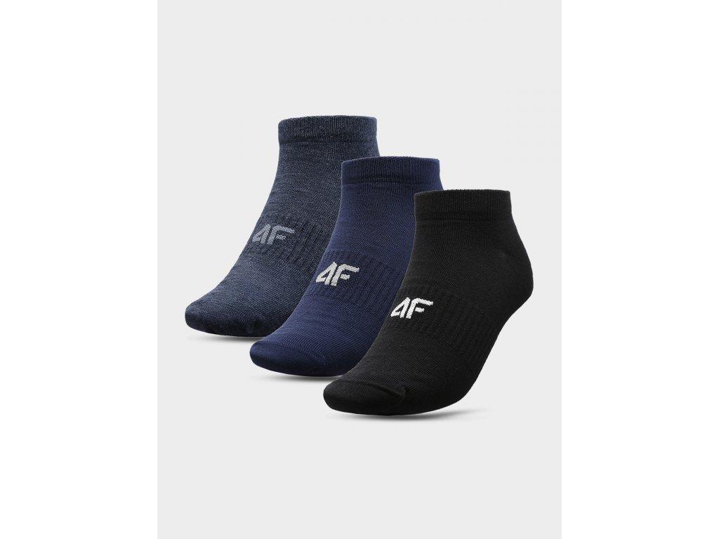 Pánské kotníkové ponožky 4F SOM301 Černé Modré (3páry)