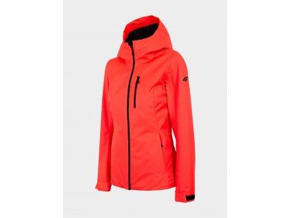100511 damska outdoorova bunda 4f kud301 cervena neon