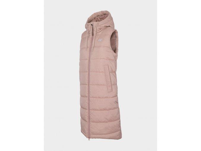 Dámská dlouhá vesta 4F KUDP201 Světle růžová