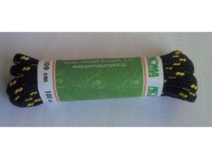 Tkaničky SPORT kulatá 170100 PROMA 90-160 cm Černá / Žlutá