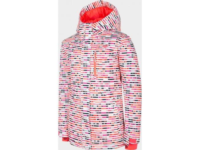 Dívčí snowboardová bunda 4F JKUDNS403 Bílá/vzor