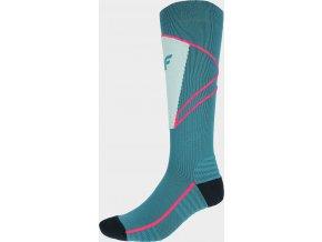 97637 damske lyzarske ponozky 4f sodn200 zelene morska
