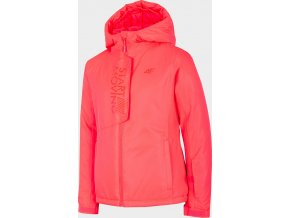 Dívčí lyžařská bunda 4F JKUDN400 Růžová/neon