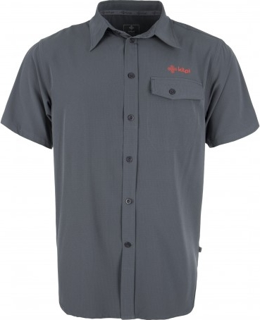 Pánská lehká technická košile KILPI MISHA tmavě šedá Barva: Šedá, Velikost: S
