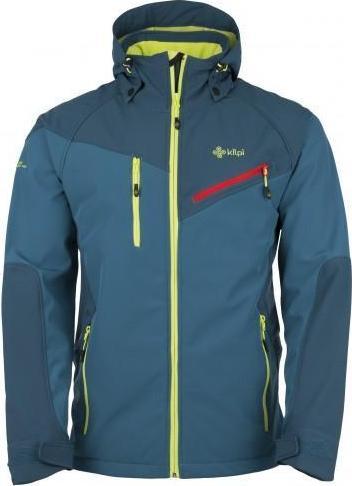 Pánská lyžařská softshellová bunda KILPI AZON Tyrkysová Barva: Tyrkysová, Velikost: XXL