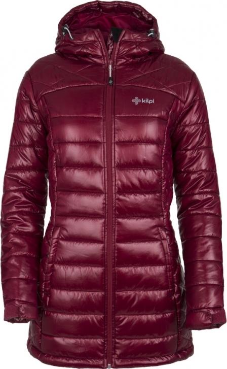 Dámský zimní prošívaný kabát KILPI SYDNEY-W Tmavě červená Barva: Vínová, Velikost: 34