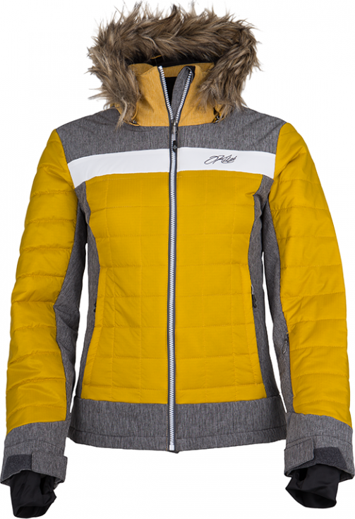 Dámská zimní technická bunda KILPI LEDA-W Žluto-šedá Barva: Khaki, Velikost: 34