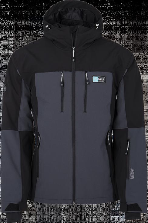 Pánská softshellová lyžařská bunda KILPI VANUATU-M tmavě šedá Barva: Šedá, Velikost: S