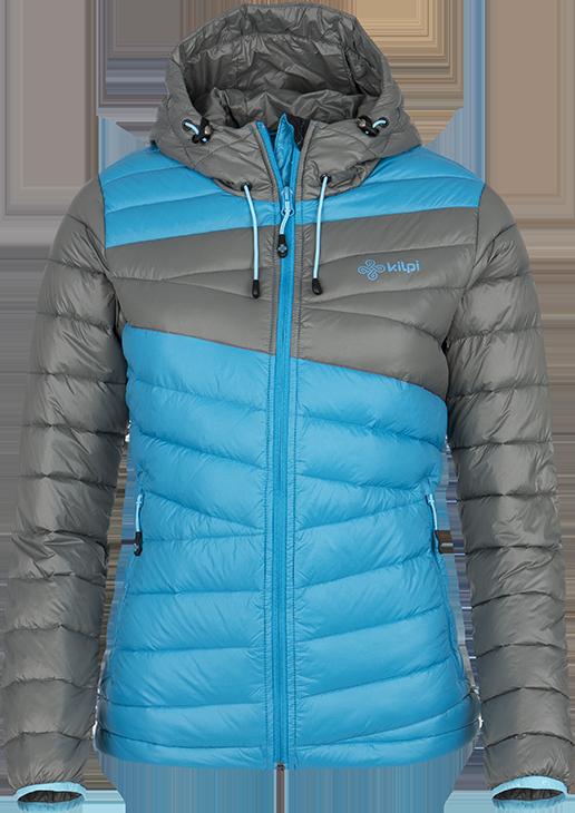 Dámská péřová bunda KILPI SVALBARD-W Světle modrá Barva: Modrá, Velikost: 42