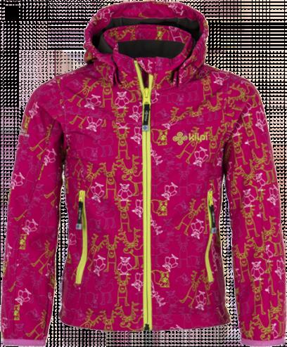 Dívčí softshellová bunda KILPI ELIA-JG Růžová potisk Barva: Růžová, Velikost: 134_140