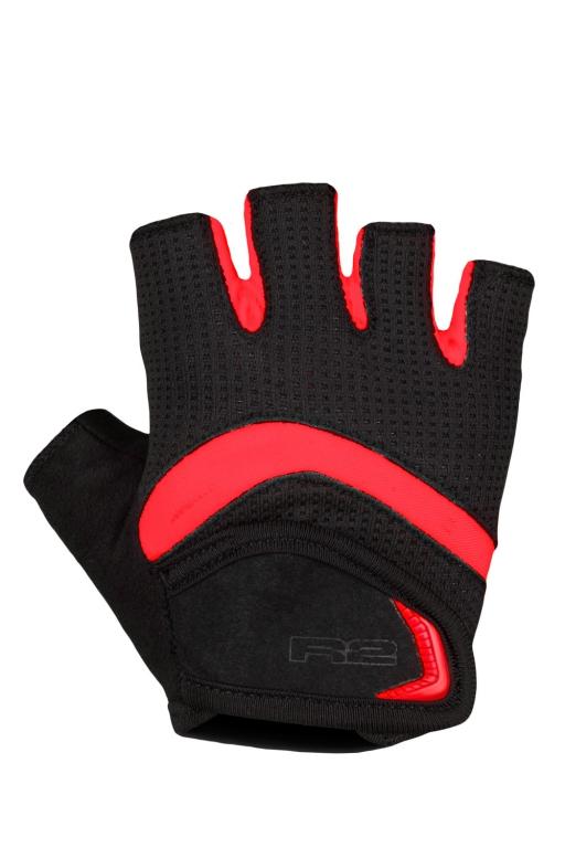Dětské cyklistické rukavice R2 LOOP ATR06C Černá/červená Barva: Černá, Velikost: 12_14 let