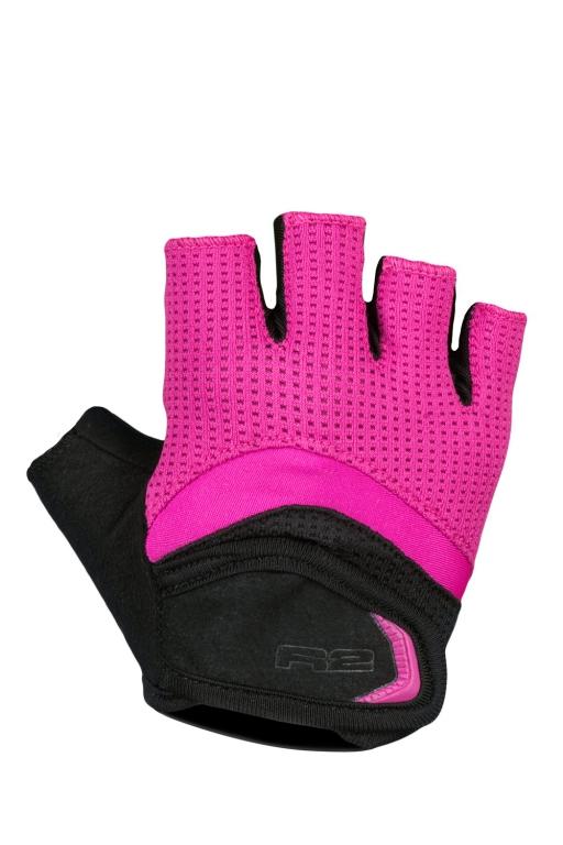 Dívčí cyklistické rukavice R2 LOOP ATR06D Černá/růžová Barva: Růžová, Velikost: 12_14 let