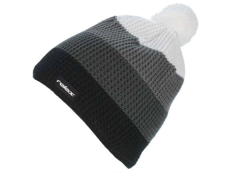 Zimní pletená čepice Relax RKH18A černá / šedá / bílá
