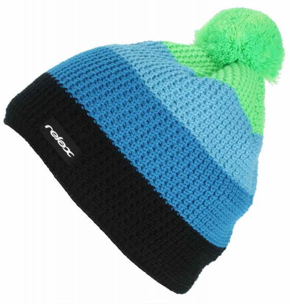 Zimní pletená čepice Relax RKH18C černá / modrá / zelená Barva: Černá, Velikost: UNI