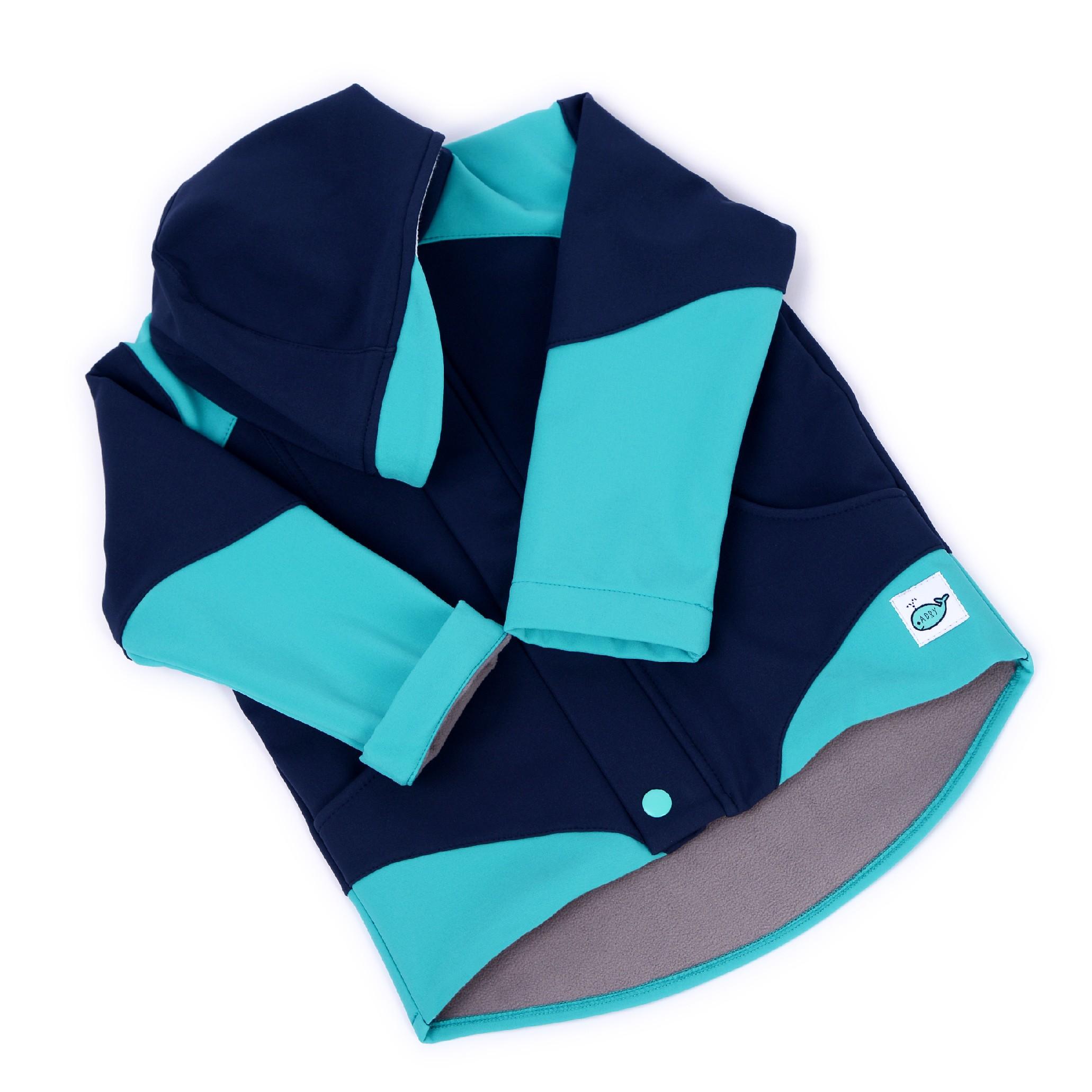 Dětská softshellová bunda ADRY Modrá/tyrkys Barva: Modrá, Velikost: 134