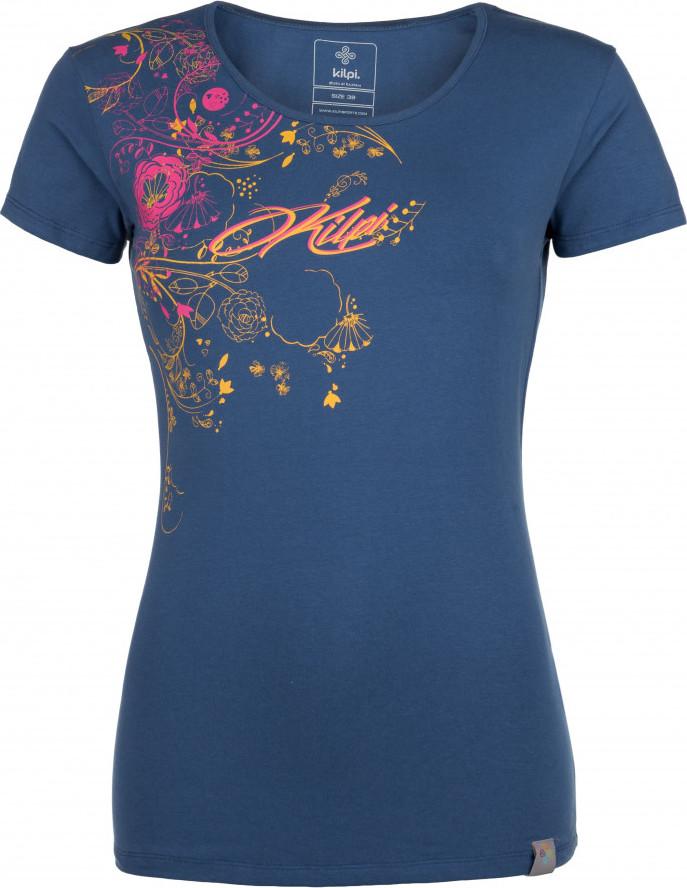 Dámské bavlněné tričko KILPI FLORI-W Modrá Barva: Modrá, Velikost: 42