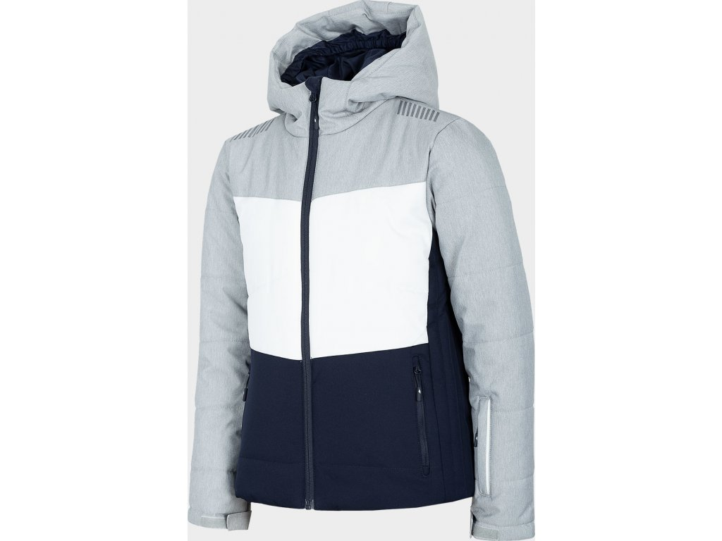 Dievčenská lyžiarska bunda 4F JKUDN401A Sivá