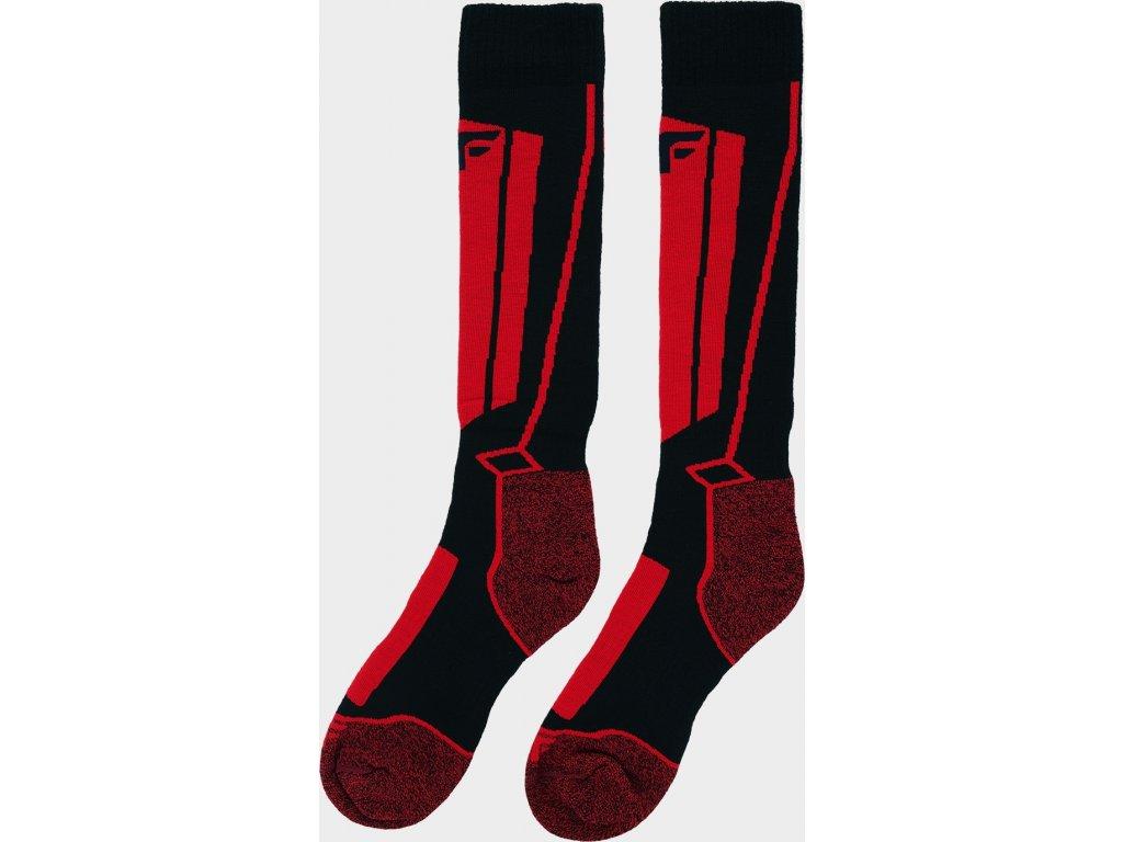 Chlapčenské lyžiarske ponožky JSOMN400 Červené / čierne