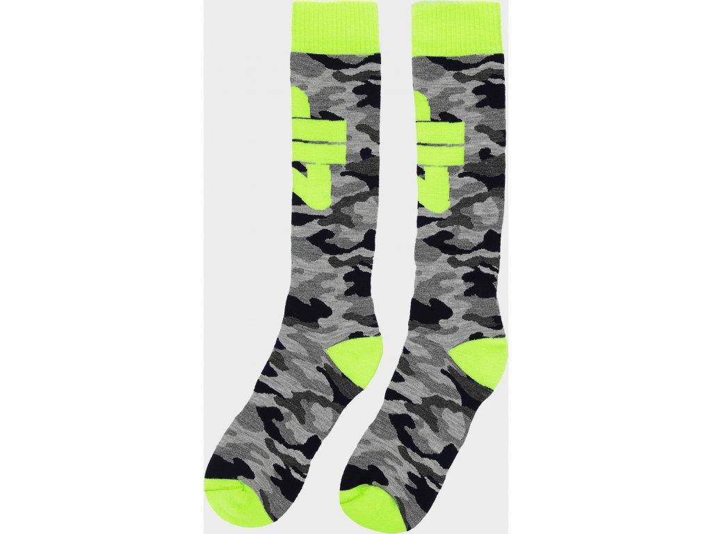 Chlapčenské lyžiarske ponožky 4F JSOMN402 Sivé