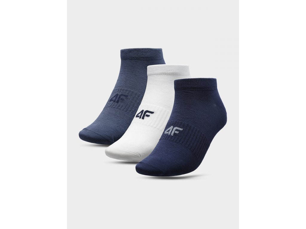 Pánské kotníkové ponožky 4F SOM301 Modré Bílé (3 páry)