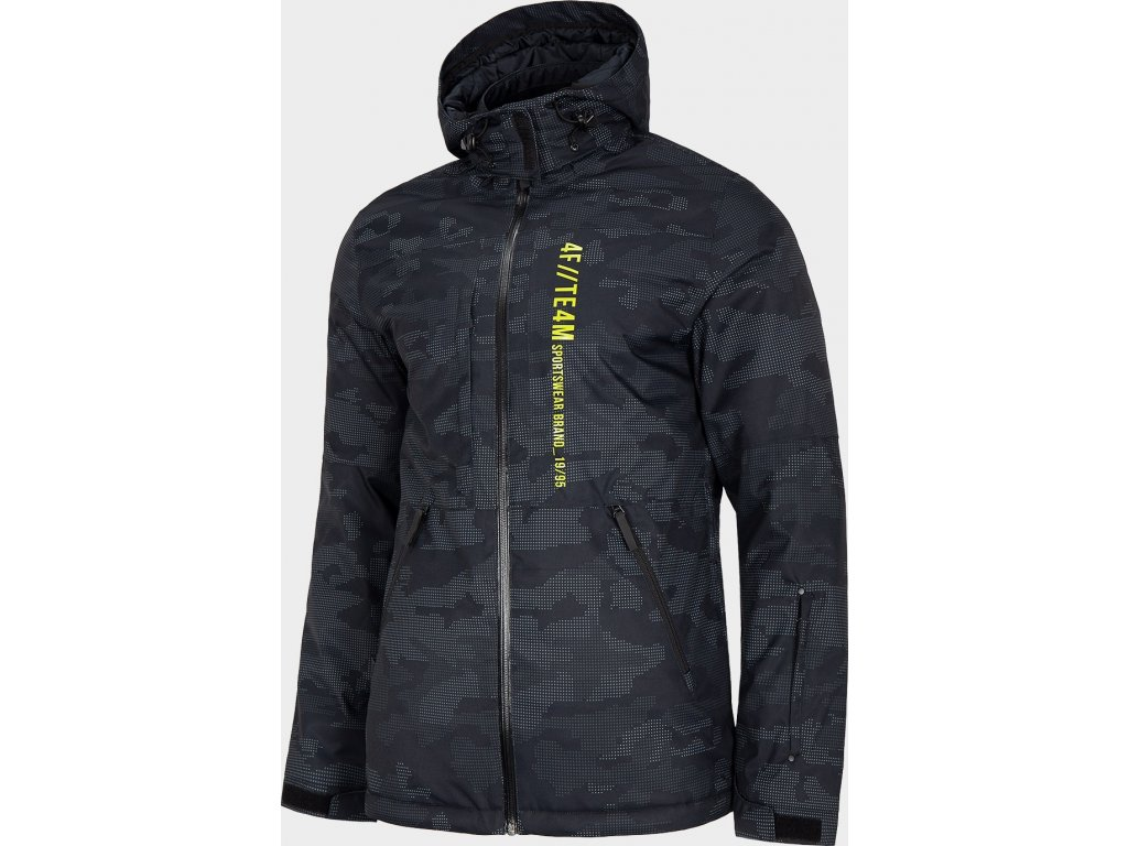 Pánská lyžařská bunda 4FKUMN073 Černá print