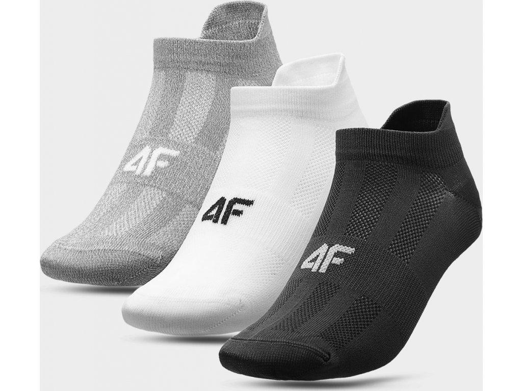 Pánske športové ponožky 4F SOM213 Sivá biela čierna (3 páry)