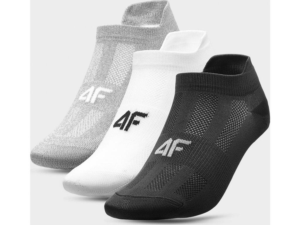 Dámske ponožky 4F SOD213 Sivá biela čierna (3 Páry)