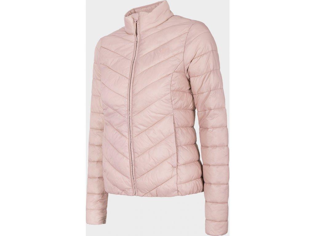 Ľahká dámska prešívaná bunda 4F KUDP300 Svetlo ružová