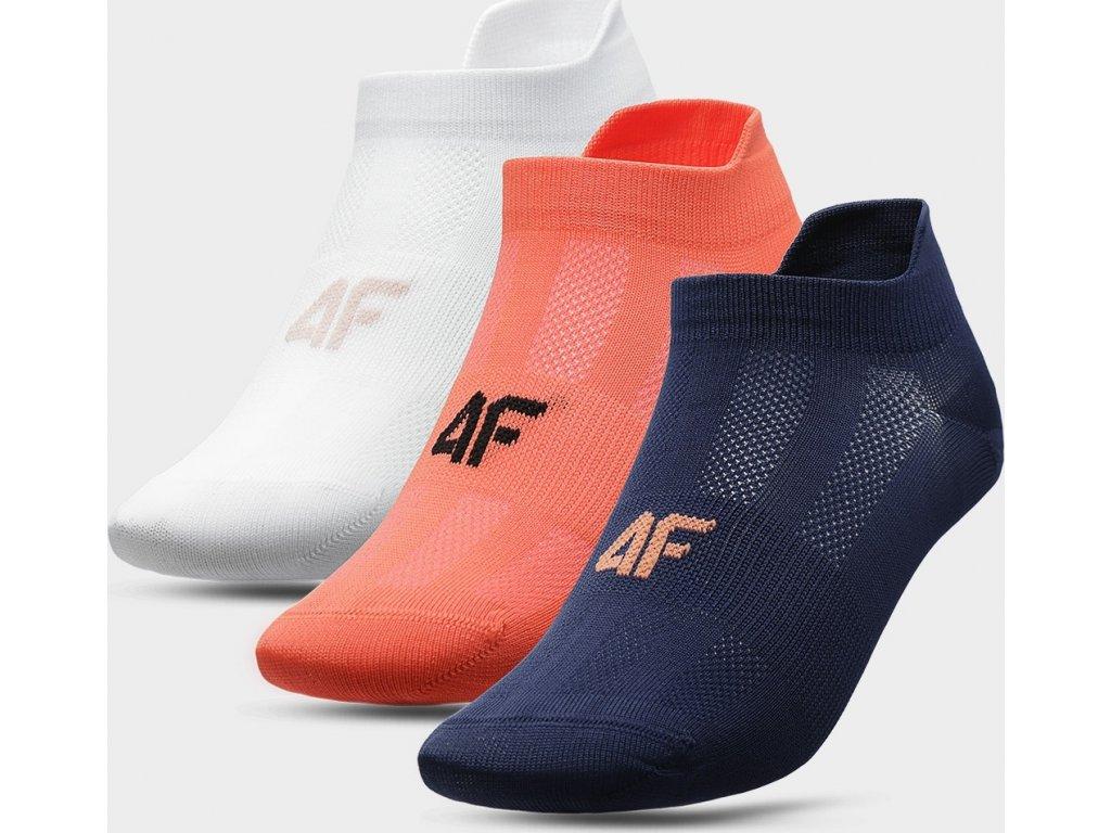 Dámske ponožky 4F SOD213 Biela lososová modrá (3 Páry)
