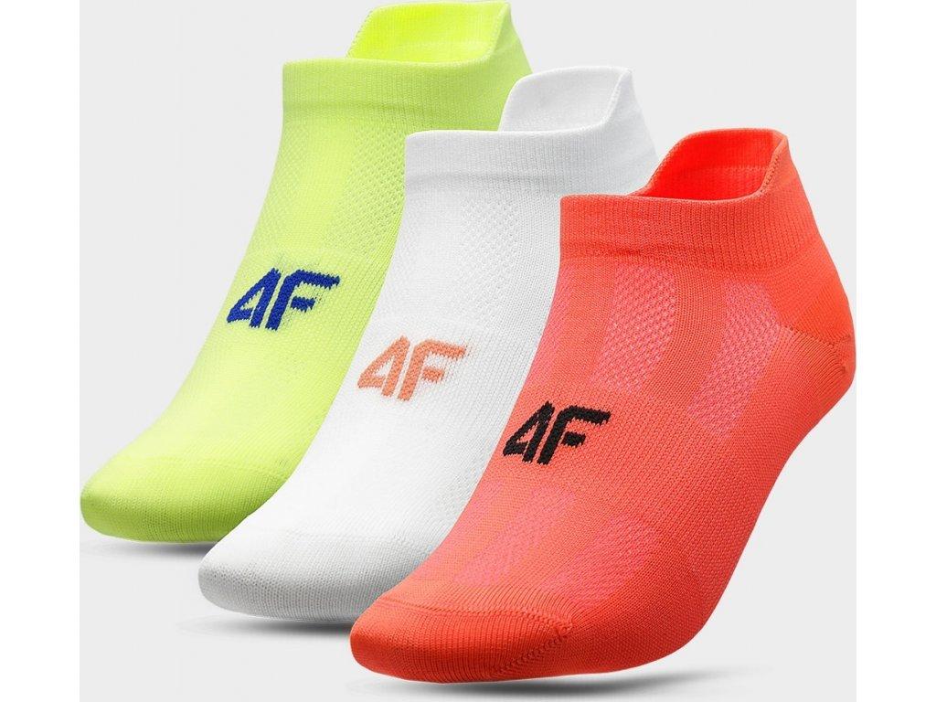 Dámske ponožky 4F SOD213 žltá biela lososová (3páry)