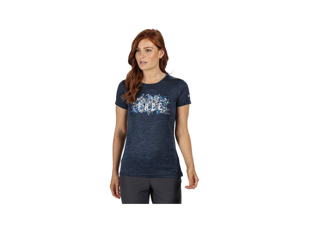 Dámské funkční tričko REGATTA RWT204 Fingal V Modrá denim