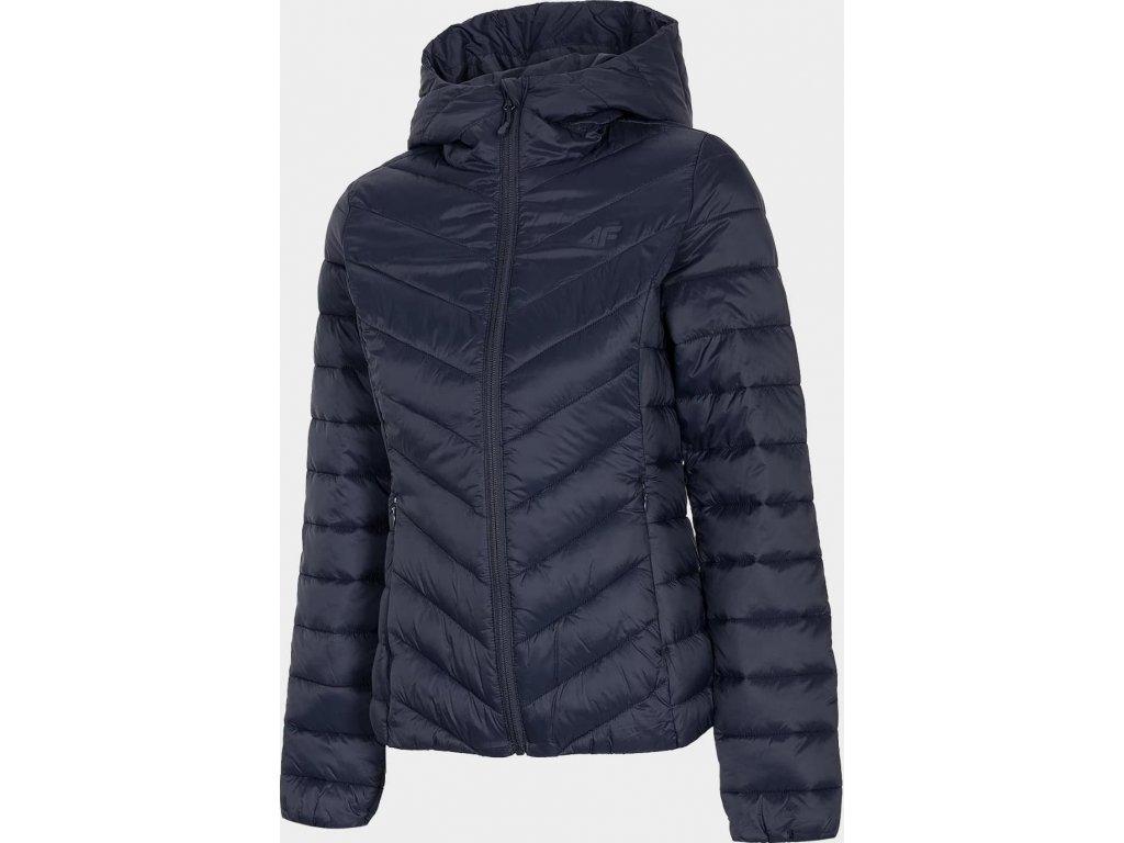 Dámska páperová bunda 4F KUDP004 tmavo modrá